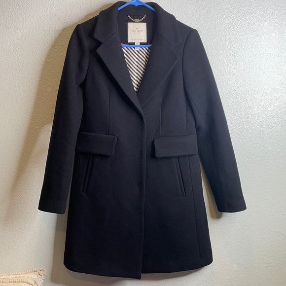 Kate Spade long wool black pea coat